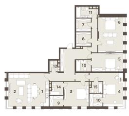 ЖК «The Mostman», планировка квартиры со свободной планировкой, 212.00 м²