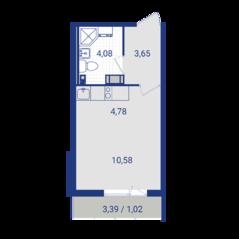 ЖК «Lampo», планировка студии, 24.11 м²
