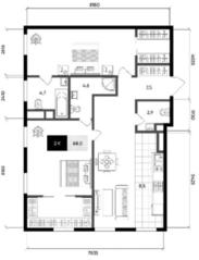 МФК «Titul на Серебрянической», планировка 1-комнатной квартиры, 88.00 м²