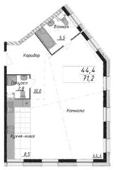 МФК «Titul на Серебрянической», планировка 2-комнатной квартиры, 71.00 м²