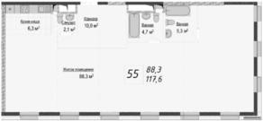 МФК «Titul на Серебрянической», планировка 2-комнатной квартиры, 118.00 м²
