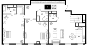 МФК «Titul на Серебрянической», планировка 3-комнатной квартиры, 276.00 м²