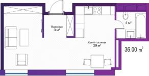 МФК «LES», планировка студии, 36.00 м²