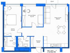 МФК «LES», планировка 2-комнатной квартиры, 75.60 м²