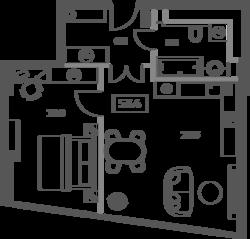 ЖК «Sky House», планировка 2-комнатной квартиры, 53.40 м²
