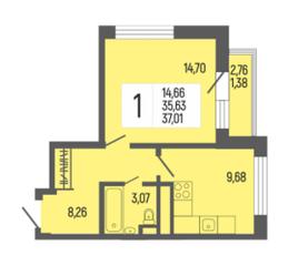 ЖК «L'Club», планировка 1-комнатной квартиры, 37.09 м²