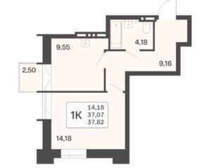 ЖК «Расцветай в Люблино», планировка 1-комнатной квартиры, 37.82 м²