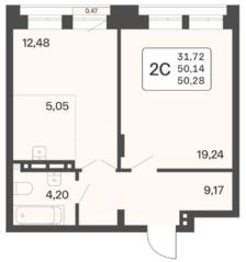 ЖК «Расцветай в Люблино», планировка 2-комнатной квартиры, 50.28 м²