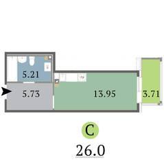 МЖК «Red Village», планировка студии, 26.00 м²