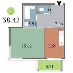МЖК «Red Village», планировка 1-комнатной квартиры, 38.42 м²