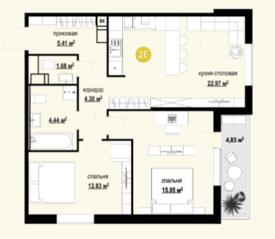 ЖК «Дмитриевский», планировка 3-комнатной квартиры, 69.99 м²