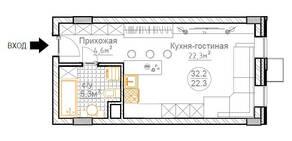 ЖК «Суханово Spa Deluxe», планировка студии, 32.30 м²