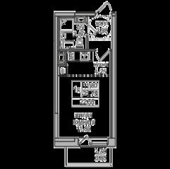 ЖК «Северная долина», планировка студии, 22.55 м²