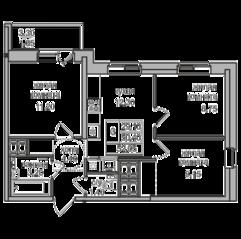 ЖК «Северная долина», планировка 3-комнатной квартиры, 52.05 м²