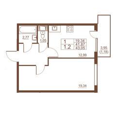 ЖК «Полет», планировка 1-комнатной квартиры, 43.05 м²