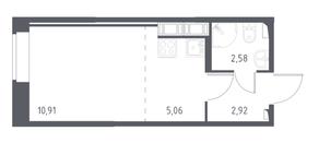 ЖК «Новое Колпино», планировка студии, 21.50 м²