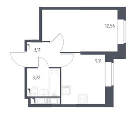 ЖК «Новое Колпино», планировка 1-комнатной квартиры, 28.50 м²