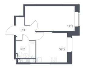 ЖК «Новое Колпино», планировка 1-комнатной квартиры, 32.20 м²