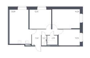 ЖК «Новое Колпино», планировка 3-комнатной квартиры, 71.80 м²