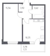ЖК «Астрид», планировка 1-комнатной квартиры, 34.50 м²