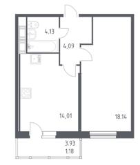 ЖК «Астрид», планировка 1-комнатной квартиры, 41.50 м²