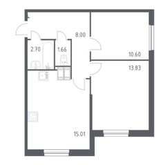 ЖК «Астрид», планировка 2-комнатной квартиры, 51.80 м²