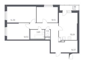ЖК «Астрид», планировка 3-комнатной квартиры, 72.60 м²