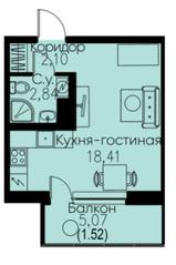 ЖК «ID Кудрово», планировка студии, 24.87 м²