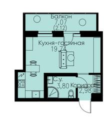 ЖК «ID Кудрово», планировка студии, 28.64 м²