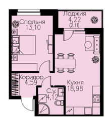 ЖК «ID Кудрово», планировка 1-комнатной квартиры, 42.90 м²