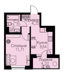 ЖК «ID Кудрово», планировка 1-комнатной квартиры, 30.50 м²
