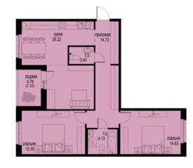 ЖК «ID Кудрово», планировка 2-комнатной квартиры, 79.84 м²