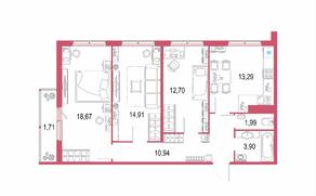 ЖК «Геометрия» (Кудрово), планировка 3-комнатной квартиры, 78.10 м²