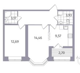 ЖК «Новое Купчино», планировка 2-комнатной квартиры, 55.53 м²