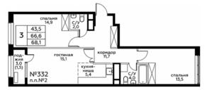 ЖК «Вереск», планировка 3-комнатной квартиры, 68.10 м²