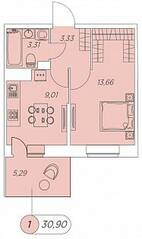 ЖК «Аквилон Stories», планировка 1-комнатной квартиры, 30.90 м²