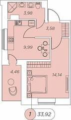 ЖК «Аквилон Stories», планировка 1-комнатной квартиры, 33.92 м²