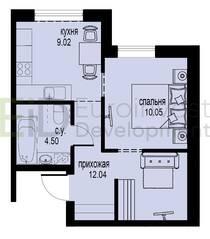 ЖК «ID Мурино», планировка 1-комнатной квартиры, 35.61 м²