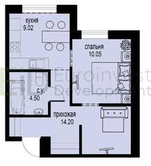 ЖК «ID Мурино», планировка 1-комнатной квартиры, 37.77 м²