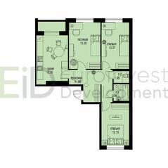 ЖК «ID Мурино», планировка 3-комнатной квартиры, 72.69 м²