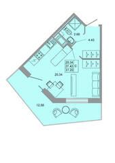 ЖК «Стороны света», планировка студии, 31.20 м²