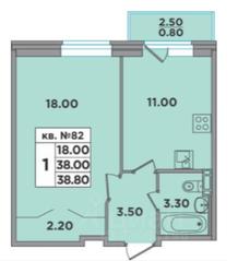 МЖК «ЭкспоГрад 4», планировка 1-комнатной квартиры, 38.80 м²