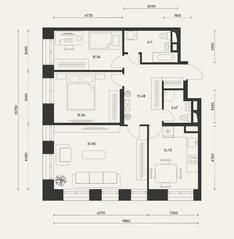 ЖК «Домашний», планировка 3-комнатной квартиры, 94.17 м²