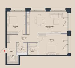 МФК «Ривер Парк», планировка 3-комнатной квартиры, 98.20 м²