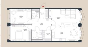МФК «Ривер Парк», планировка 3-комнатной квартиры, 94.00 м²