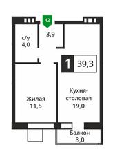 ЖК «Лесная Отрада», планировка 1-комнатной квартиры, 39.30 м²
