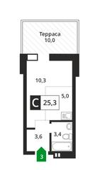ЖК «Лесная Отрада», планировка студии, 25.00 м²