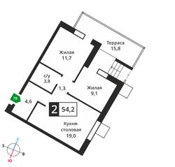ЖК «Лесная Отрада», планировка 2-комнатной квартиры, 54.20 м²