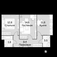 МФК «Движение. Тушино», планировка 2-комнатной квартиры, 55.20 м²