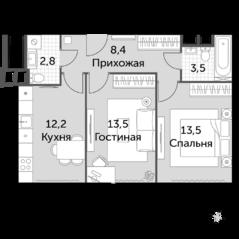 МФК «Движение. Тушино», планировка 2-комнатной квартиры, 53.90 м²